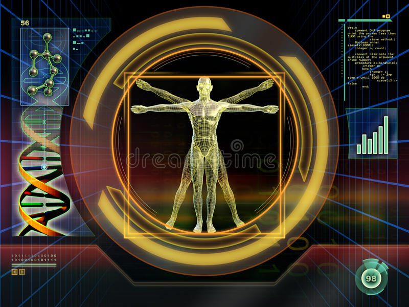 Technological man. Image of an ideal figure male analyzed by an high technology software. Digital illustration vector illustration
