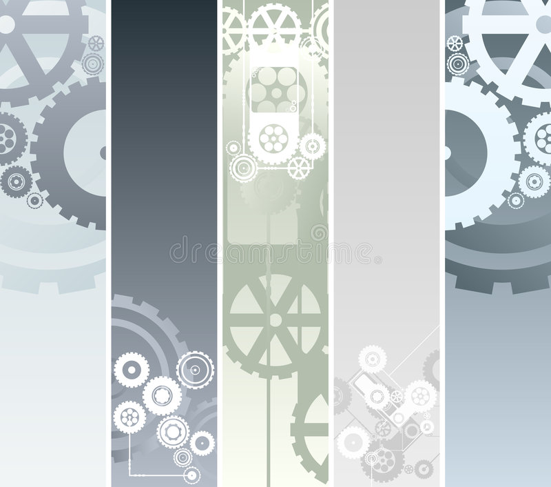 Technological and mechanical banners vector illustration