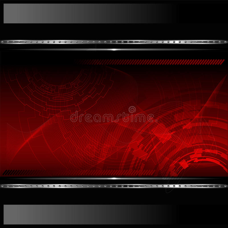 Technological red background with metallic banner. stock illustration