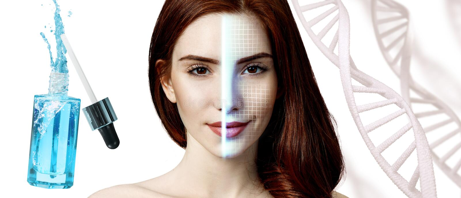 Scanning of woman face among DNA stems near blue bottle. Technological scanning of woman face among DNA stems near blue bottle royalty free stock image