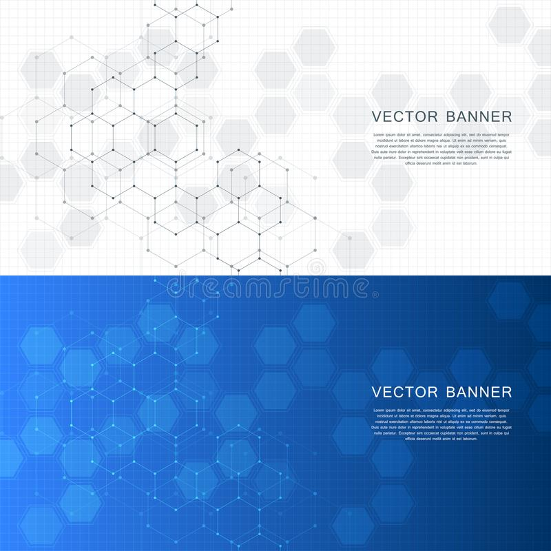 Technological and scientific banners with hexagonal molecule dna. Polygonal abstract background. Science, technology or royalty free illustration