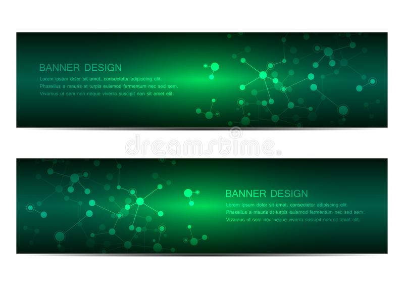Technological and scientific banners with structure of molecular particles and atom. Polygonal abstract background royalty free illustration