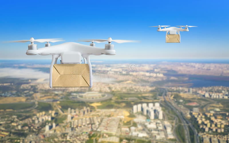 Technological shipment innovation - drone fast delivery concept stock image