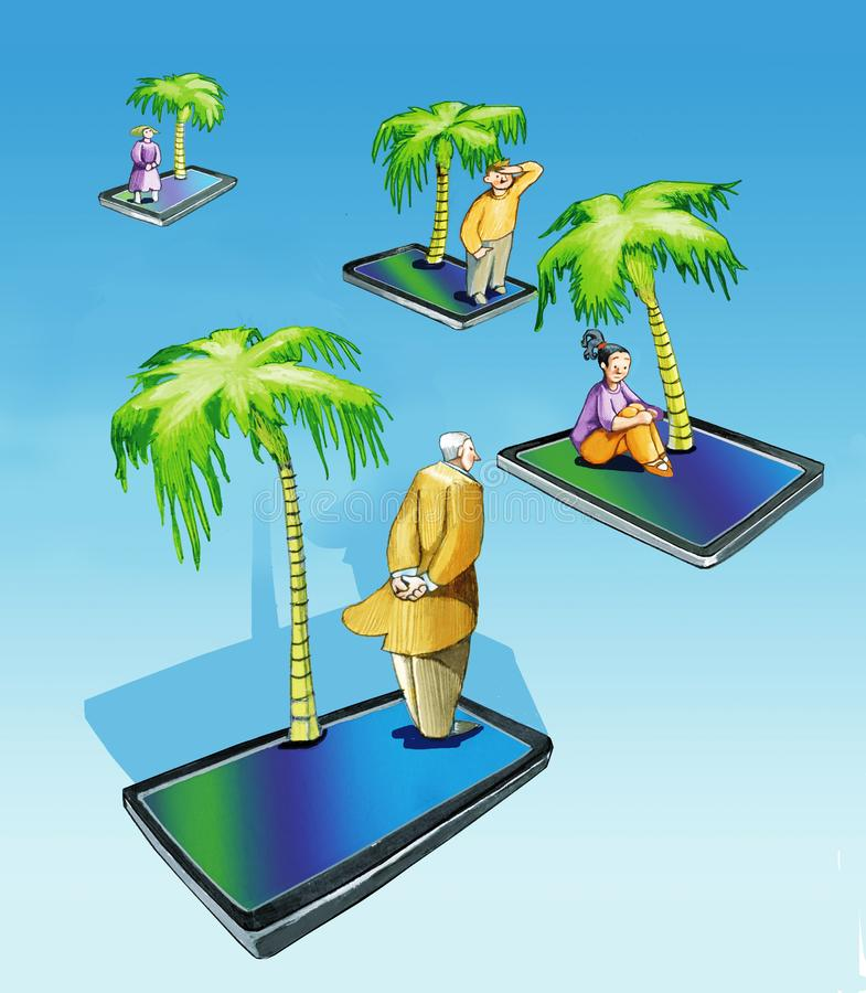 Technological solitude today people smartphone. Smartphone islands with above a person and a palm drifting apart idea of loneliness vector illustration