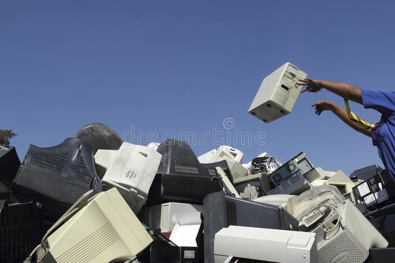 Technological trash. Technological waste recollection for recycling stock photo
