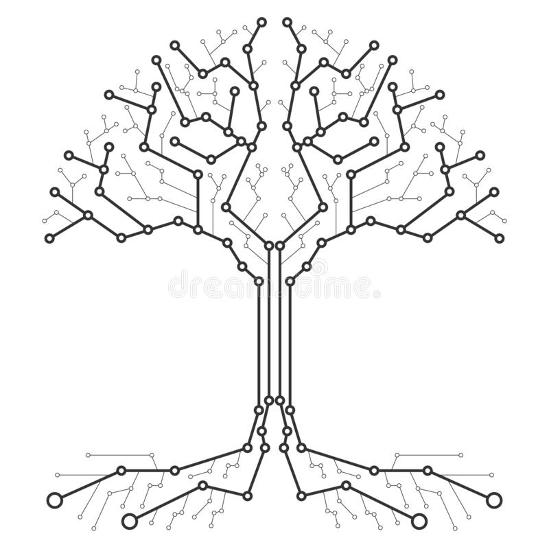 Technological tree in the form of a printed circuit board. Black and white wood in the form of connections of the technological bo vector illustration