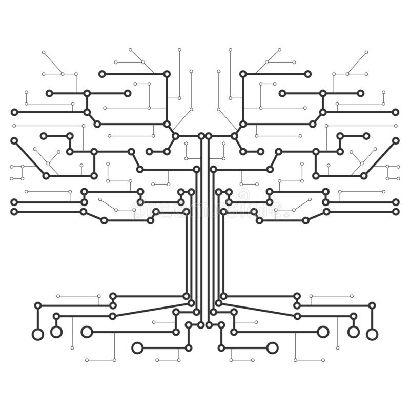 Technological tree in the form of a printed circuit board. royalty free illustration