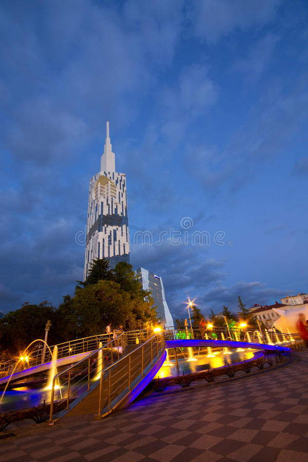 Technological University of Batumi. View of the Batumi University of Technology with the alley singing fountains stock photography