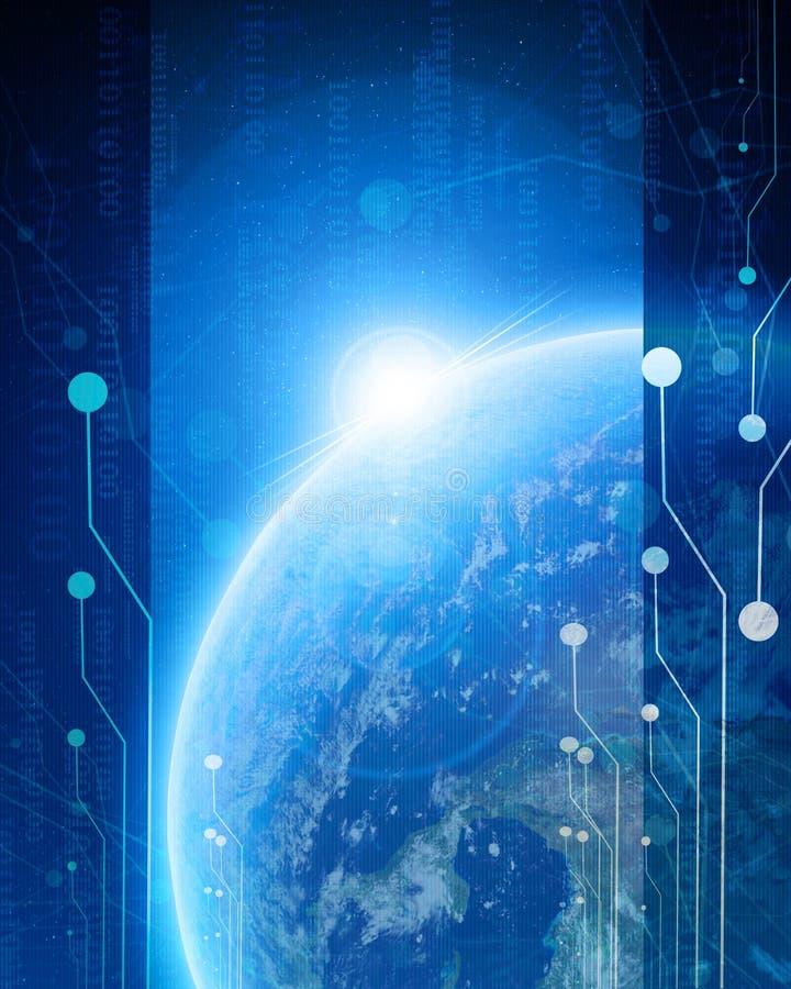 Technologiczna błękitna planety ziemia ilustracji