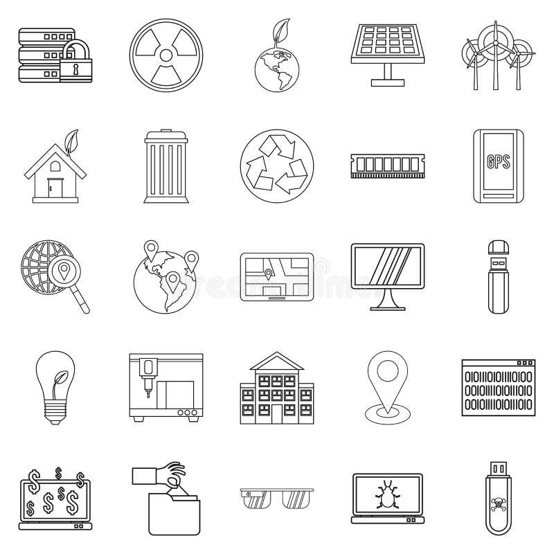 Technologiczne światowe ikony ustawiać, konturu styl ilustracja wektor