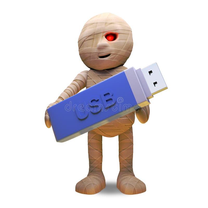 Technologicznie pamiętający Egipski mamusia potwór utrzymuje dane na USB kciuka przejażdżce, 3d ilustracja royalty ilustracja