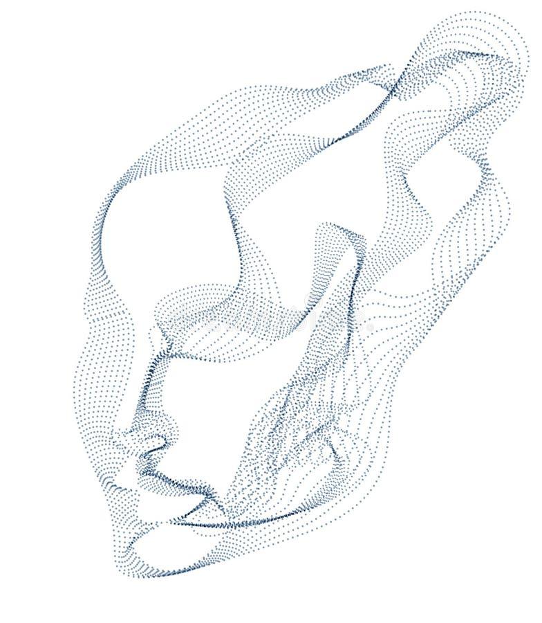 Technologiczny ewolucja czas, cyfrowa oprogramowanie dusza maszyna, ludzkiej g?owy wektorowy portret robi? kropkowane cz?steczki  royalty ilustracja