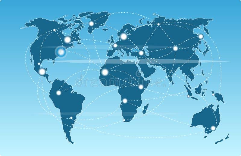 Technologiczny pojęcie i światowa mapa, abstrakcjonistyczny wizerunku projekt ilustracji