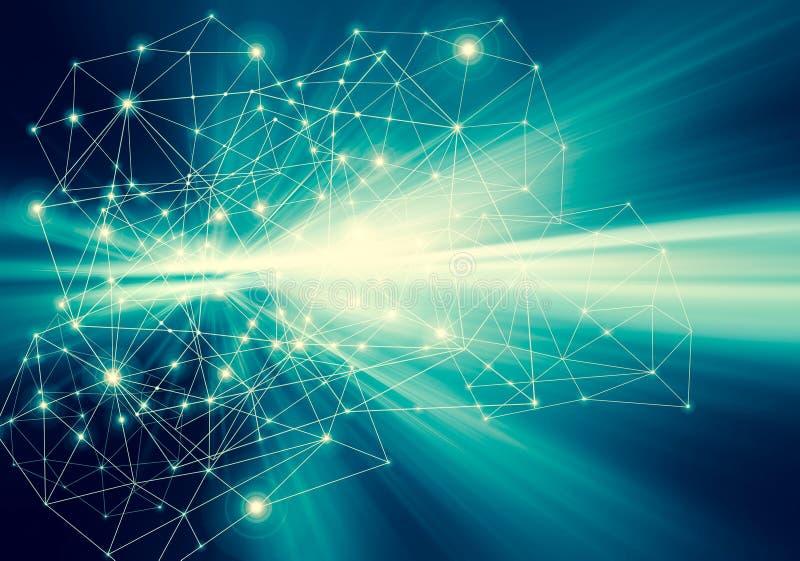 Technologiczny tło, Internetowy pojęcie globalny biznes Połączenie z internetem, abstrakt nauka i technika ilustracji