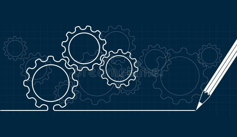 Technologiczny tło od przekładni ilustracja wektor
