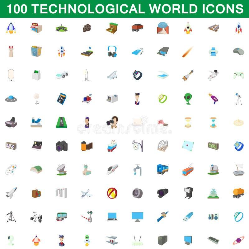 100 technologicznych światowych ikon ustawiających, kreskówka styl royalty ilustracja