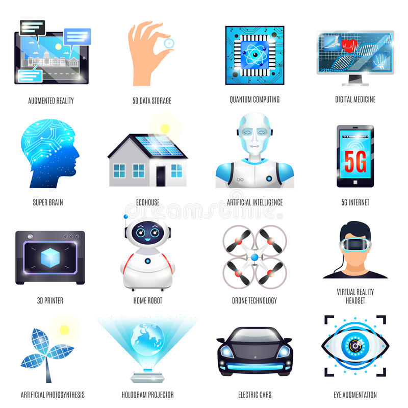 Technologieën van Toekomstige Geplaatste Pictogrammen royalty-vrije illustratie