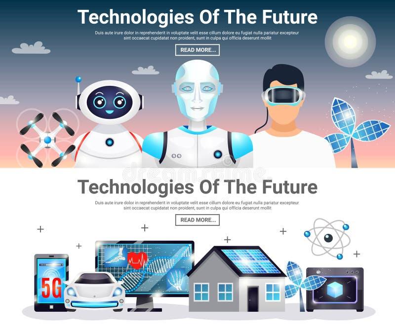 Technologieën van Toekomstige Horizontale Banners royalty-vrije illustratie