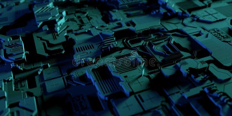 Technologie électronique Co de plat de panneau haut en métal détaillé de résumé illustration de vecteur