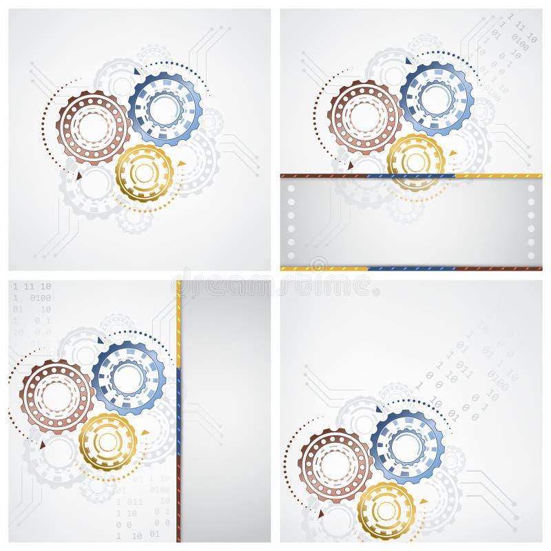 Technologie abstracte illustratie met kringsraad en toestelwielen op een witte achtergrond royalty-vrije illustratie