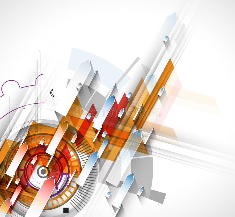 Technologie abstracte inzameling als achtergrond voor bedrijfsoplossingsideeën royalty-vrije illustratie