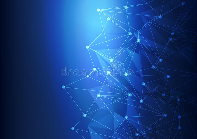 Technologie abstraite bleue Mesh Background avec des cercles, illustration de vecteur illustration libre de droits
