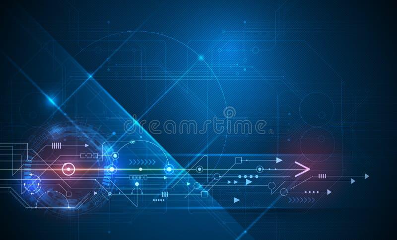 Technologie abstraite de vecteur futuriste carte avec le fond bleu-foncé de couleur illustration stock