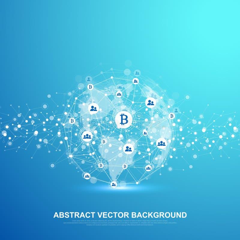 Technologie abstraite futuriste de blockchain de fond de vecteur Fond profond de Web Pair à scruter concept d'affaires de réseau illustration libre de droits