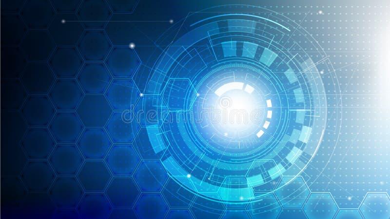 Technologie abstrakt futuristisch auf blauen Farbe mit Schaltbrett und Hexagon Hintergrund vektor abbildung