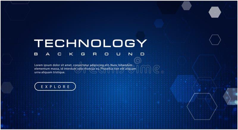 Technologie achtergrondconcept met de abstracte lichteffecten van de binaire codetekst stock illustratie