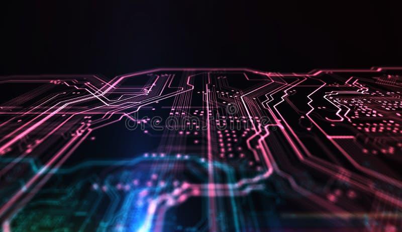 Technologie achtergrondpcb en code 3D Illustratie