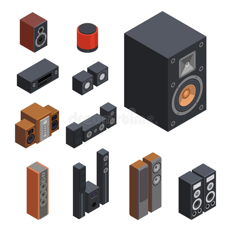 Technologie acoustique stéréo d'équipement de subwoofer de joueur de haut-parleurs de musique du vecteur 3d de système de son iso illustration stock