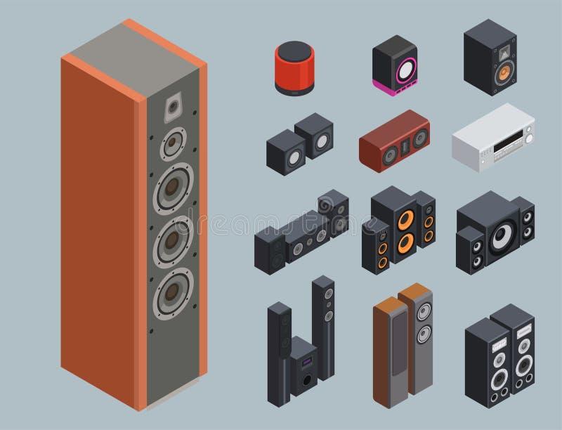 Technologie acoustique stéréo d'équipement de subwoofer de joueur de haut-parleurs de musique du vecteur 3d de système de son iso illustration libre de droits