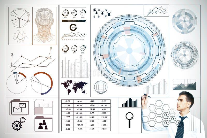 Technologie, Analytik und Finanzkonzept lizenzfreie abbildung