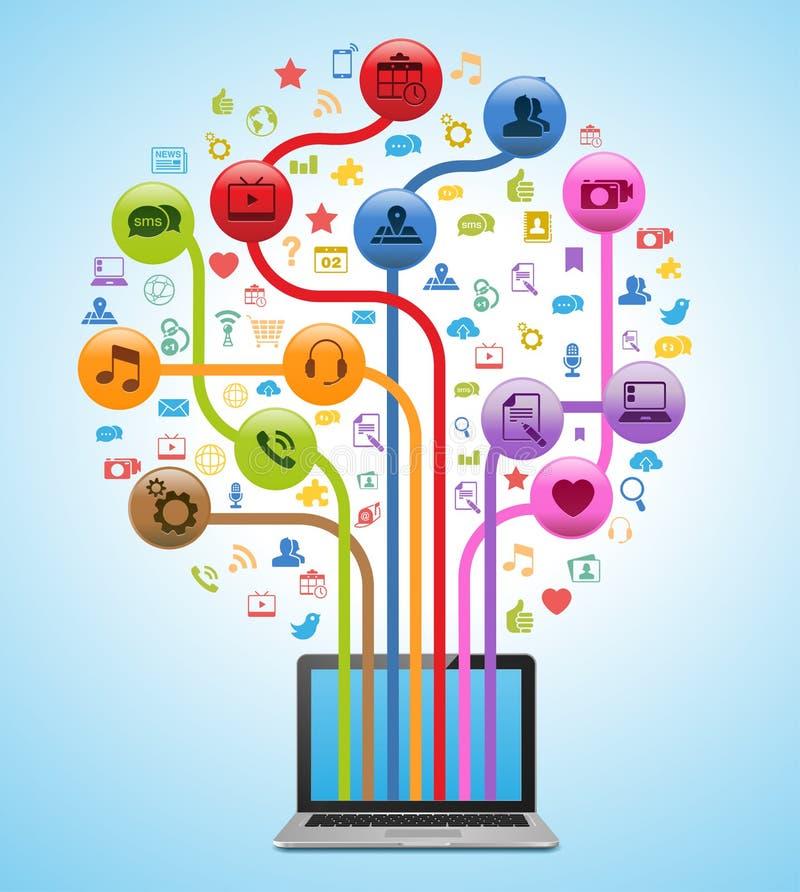 Technologie-APP-Baum lizenzfreie abbildung