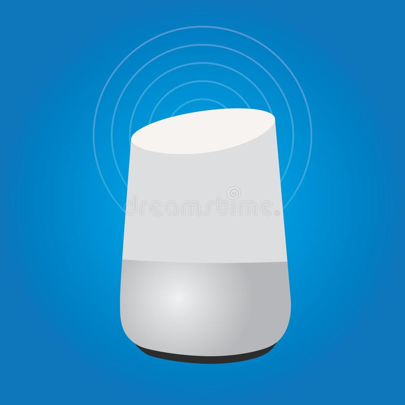 Technologie auxiliaire à la maison futée de haut-parleur d'intelligence illustration stock