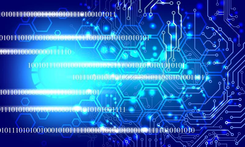 Technologie binaire de réseau du monde Communication de technologie illustration stock