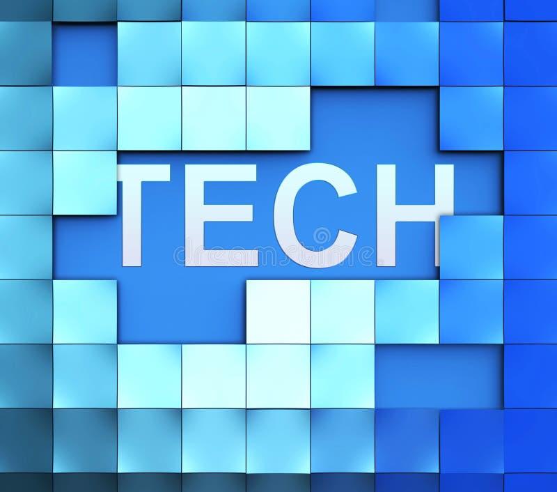 Technologie-Blokken die Technologie Gegevens en Gegevensverwerking tonen royalty-vrije illustratie