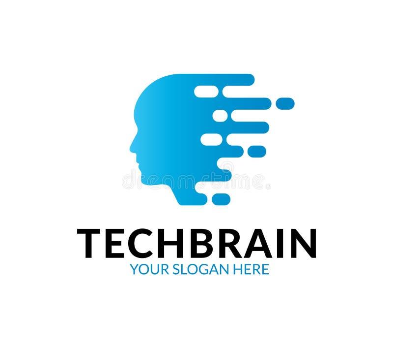 Technologie Brain Logo stock illustratie