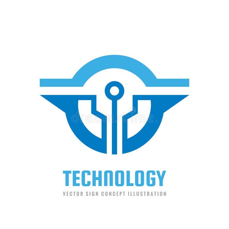 Technologie - calibre de logo pour l'identité d'entreprise Signe abstrait de puce Réseau, illustration de concept de technologie  illustration libre de droits