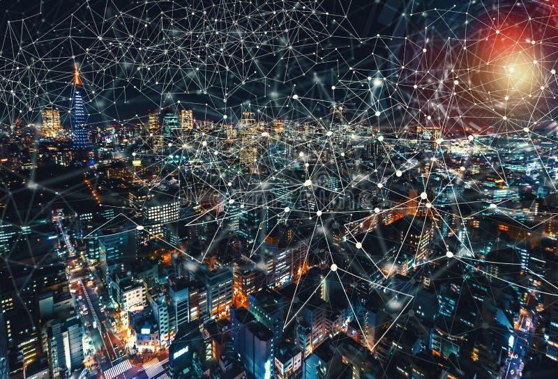Technologie Cirlcle de Digital avec la vue aérienne de Tokyo, Japon photo stock