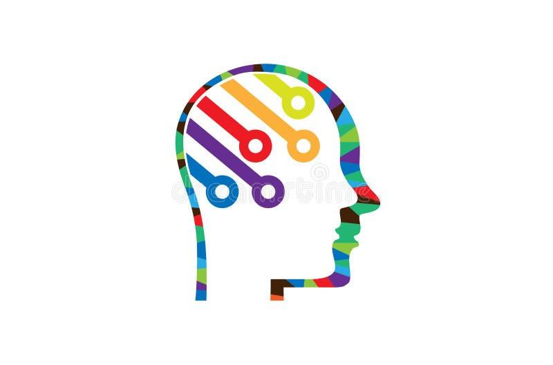 Technologie colorée créative Logo Design de fil de tête humaine illustration libre de droits