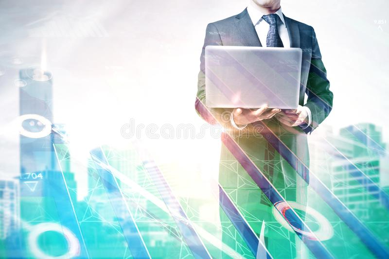 Technologie, communicatie en analyseconcept stock foto