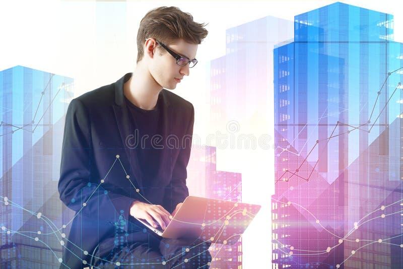 Technologie, communicatie en investeringsconcept stock afbeeldingen