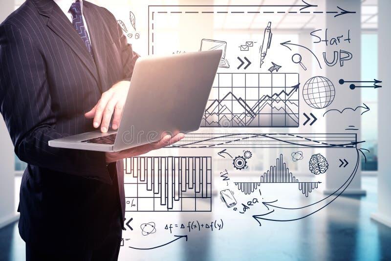 Technologie, communicatie en succesconcept royalty-vrije stock afbeelding
