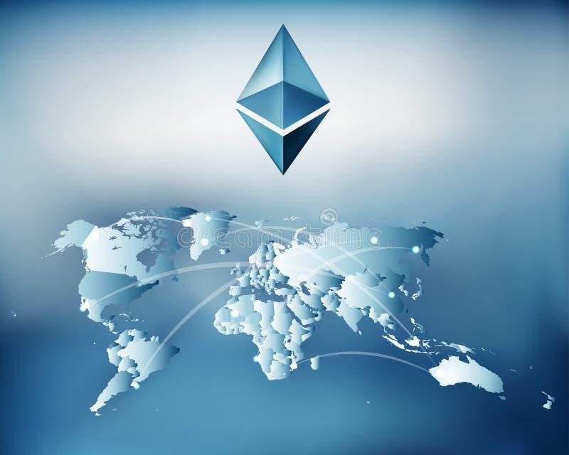 Technologie Cryptocurrency Ethereum und Blockchain mit Weltkarte und blockchain blicken, um zu blicken Netz vektor abbildung