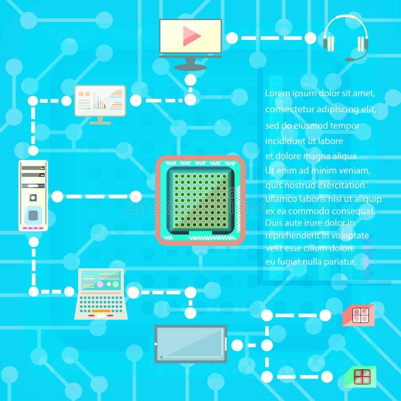 Technologie cyfrowe i socjalny sieci ikon wektoru medialni elementy ilustracji