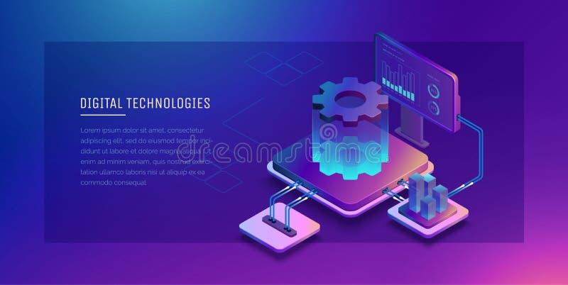 Technologie cyfrowe Monitorowanie i testowanie cyfrowy proces Cyfrowej biznesowa analiza niebieski tła pudła brązu pieniądze konc ilustracji