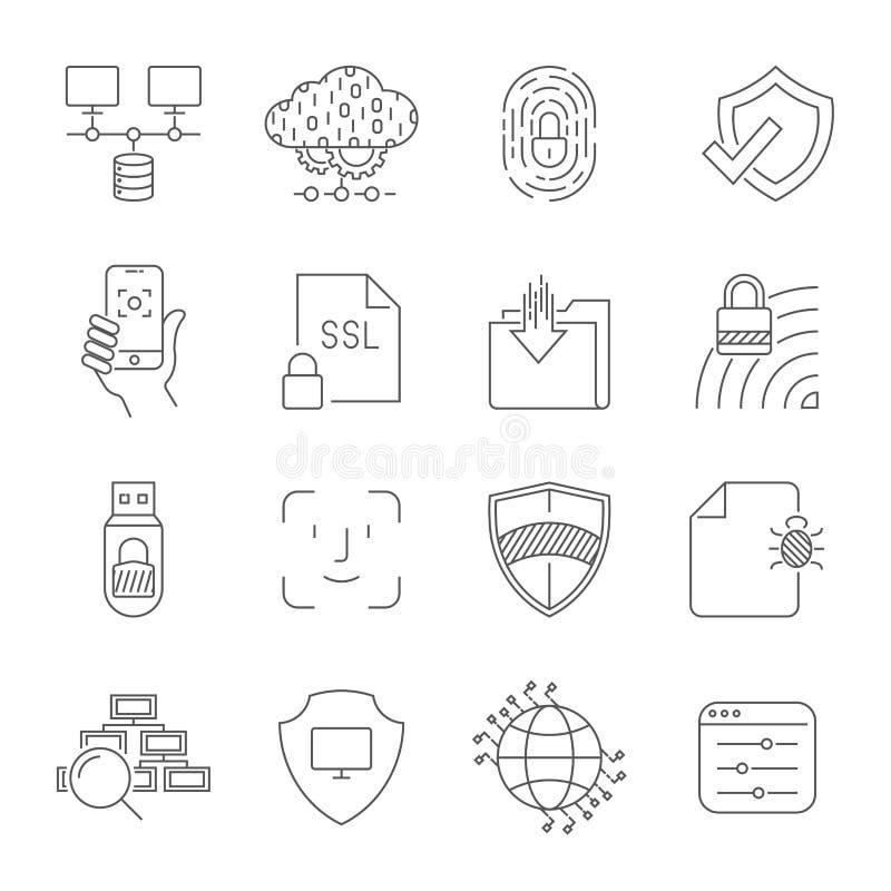 Technologie Cyfrowe odnosić sie wektor linii ikony Zawiera taki ikony jak Obłoczny Gościć, pulpit operatora, twarzy rozpoznanie royalty ilustracja