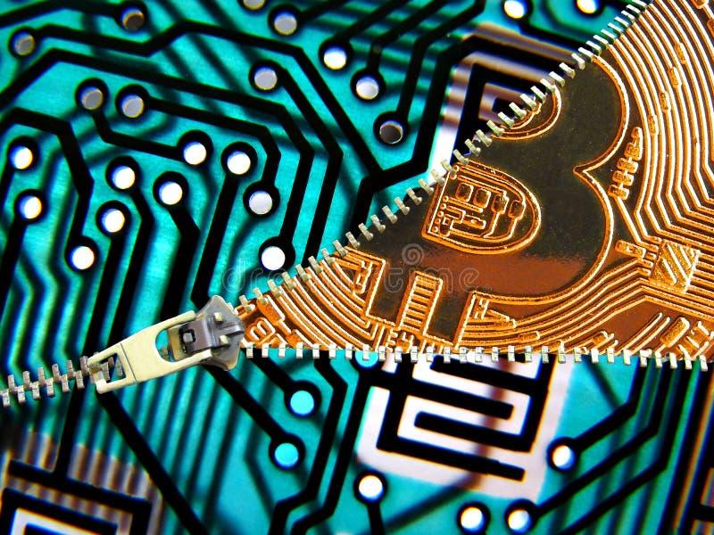 Technologie défaisante la fermeture éclair de cryptocurrency de bitcoin image libre de droits